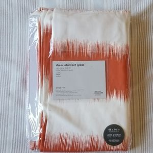 West Elm Accents - NWT Pair West Elm Orange and White Modern Curtains